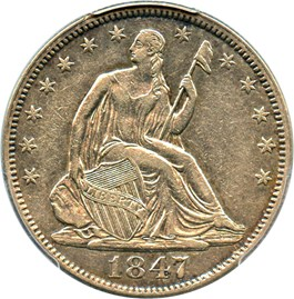 Image of 1847 50c PCGS XF40