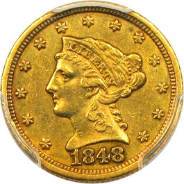 Image of 1848-C $2 1/2 PCGS AU55