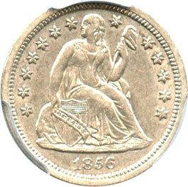 Image of 1856 10c PCGS AU55 (Small Date)