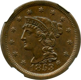 Image of 1853 1c NGC/CAC MS64 BN