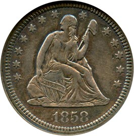 Image of 1858 25c ANACS AU50