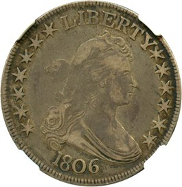 Image of 1806 50c NGC/CAC VF20 (Pointed 6, Stems, O-119)