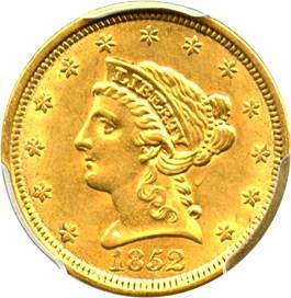 Image of 1852 $2 1/2 PCGS/CAC AU58