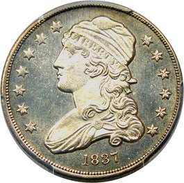 Image of 1837 25c PCGS/CAC MS65