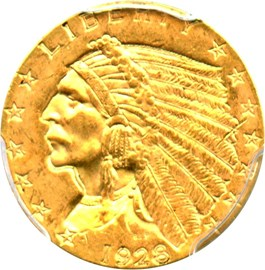 Image of 1928 $2 1/2 PCGS MS63