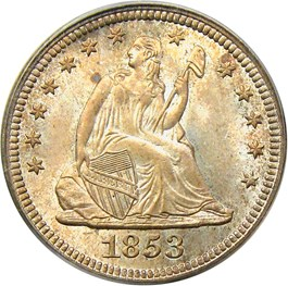 Image of 1853 25c PCGS/CAC MS67 (No Arrows, OGH)
