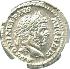 Image of AD 198-217 Caracalla AR Denarius NGC MS (Ancient Roman) Strike: 5/5; Surface 5/5