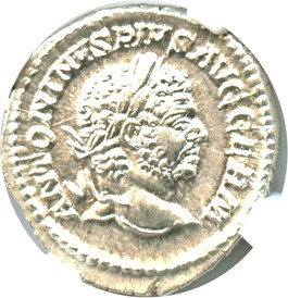Image of AD 198-217 Caracalla AR Denarius NGC MS (Ancient Roman) Strike: 5/5; Surface 4/5