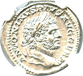 Image of AD 198-217 Caracalla AR Denarius NGC MS (Ancient Roman) Strike: 3/5; Surface 4/5