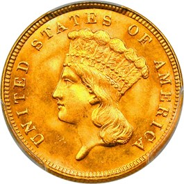 Image of 1887 $3 PCGS/CAC MS66+