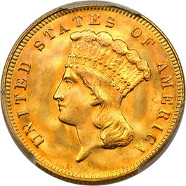Image of 1878 $3 PCGS/CAC MS66