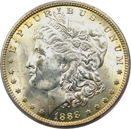 Image of 1888-O $1 PCGS Secure/CAC MS64 (Top 100 VAM 1B, Scarface)