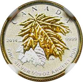 Image of Canada: 2014 Silver Maple Leaf NGC PR70 (Gilt-reverse Proof, Early Releases)