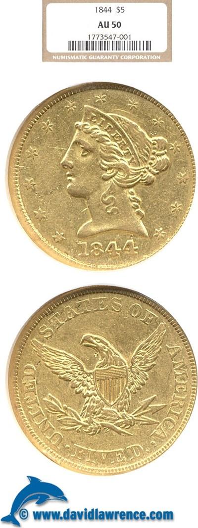 Image of 1844 $5  NGC AU50