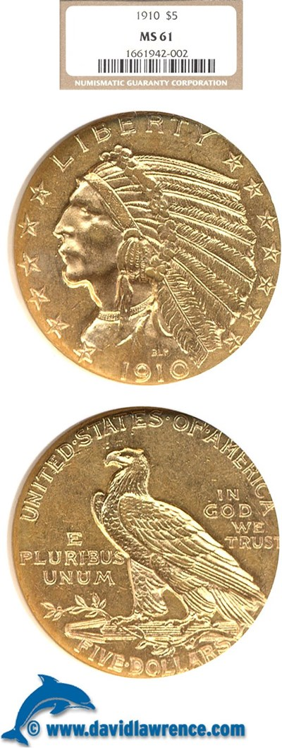Image of 1910 $5  NGC MS61