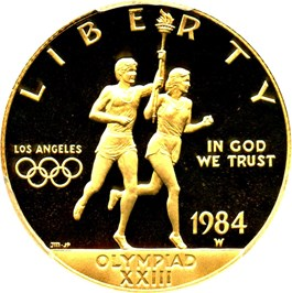 Image of 1984-W Olympic $10 PCGS Proof 69 DCAM