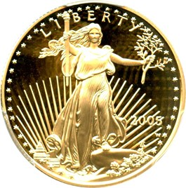 Image of 2005-W Gold Eagle $25 PCGS Proof 69 DCAM