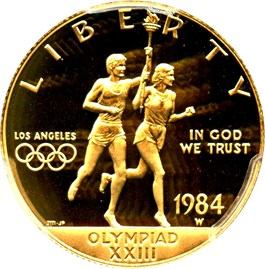 Image of 1984-W Olympic $10 PCGS Proof 70 DCAM