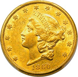 Image of 1860-S $20 PCGS AU58