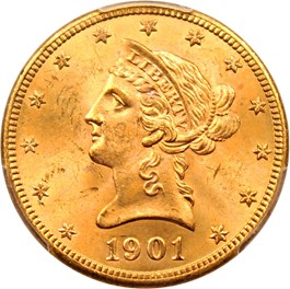 Image of 1901 $10 PCGS MS64