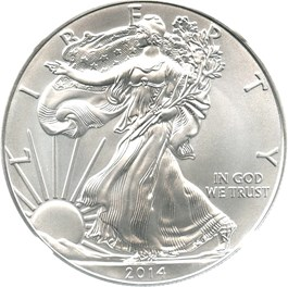 Image of 2014 Silver Eagle $1 NGC MS70 (Early Releases)