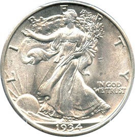 Image of 1934 50c PCGS MS64