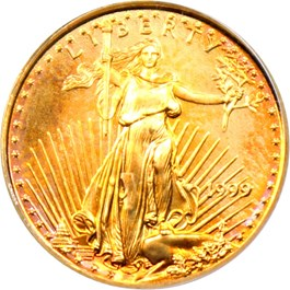 Image of 1999 Gold Eagle $5 PCGS MS69 (9-11-01 WTC Ground Zero Recovery)