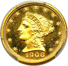 Image of 1906 $2 1/2 PCGS/CAC Proof 64 CAM