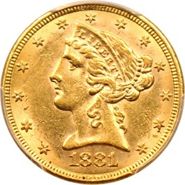Image of 1881/O $5 PCGS MS62