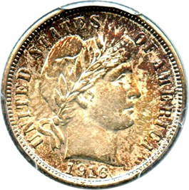 Image of 1916 Barber 10c PCGS MS62