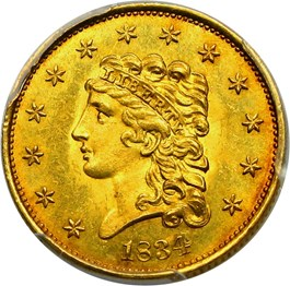 Image of 1834 Classic Head $2 1/2 PCGS/CAC MS63