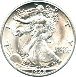 Image of 1942-D 50c PCGS MS66