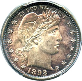 Image of 1893 25c PCGS MS63