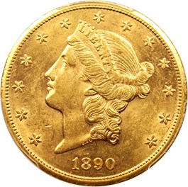 Image of 1890-CC $20 PCGS AU58