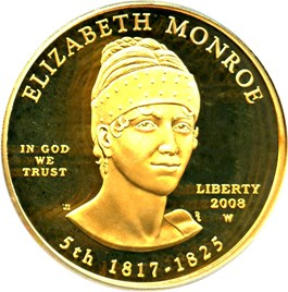 Image of 2008-W Elizabeth Monroe $10 PCGS Proof 69 DCAM (First Strike)