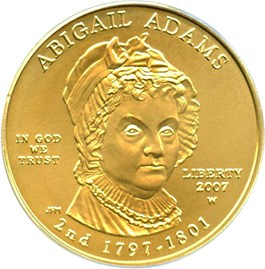 Image of 2007-W Abigail Adams $10 PCGS MS69 (First Strike)