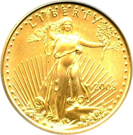 Image of 2005 Gold Eagle $10 PCGS MS70 (20th Anniversary)