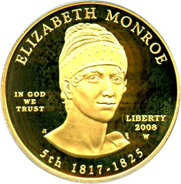 Image of 2008-W Elizabeth Monroe $10 PCGS Proof 69 DCAM