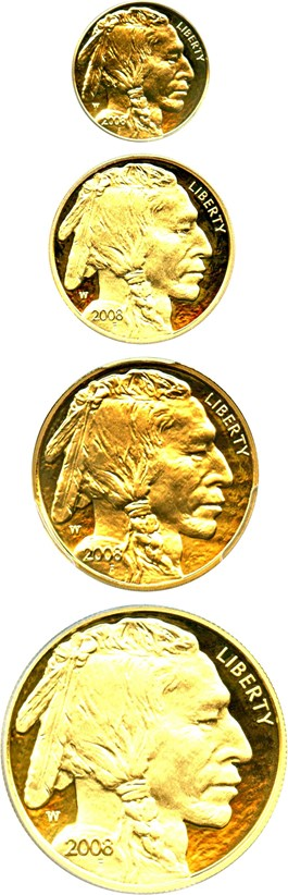 Image of 2008-W American Buffalo Set PCGS PR70 (4 Coins: $5, $10, $25 & $50)