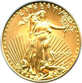 Image of 2009 Gold Eagle $5 PCGS MS70 (First Strike)