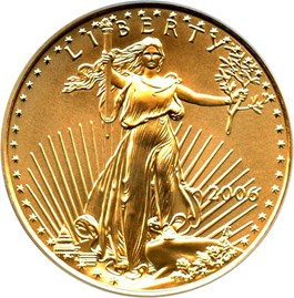 Image of 2006 Gold Eagle $25 PCGS MS70 (First Strike)