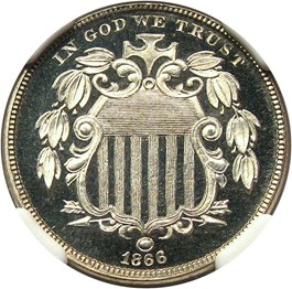 Image of 1866 5c NGC Proof 67 UCAM (With Rays)