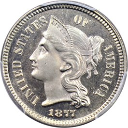 Image of 1877 3cN PCGS/CAC Proof 65 CAM