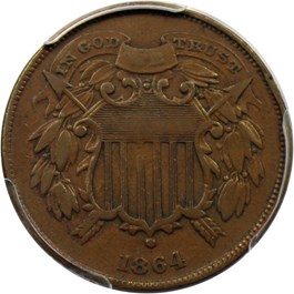 Image of 1864 2c PCGS/CAC VF35 BN (Small Motto)