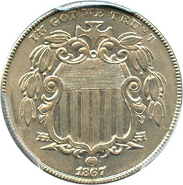 Image of 1867 5c PCGS MS61 (No Rays)