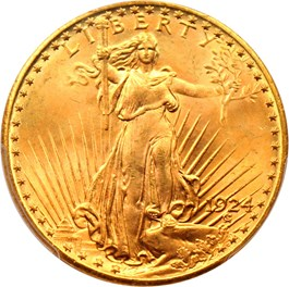 Image of 1924 $20 PCGS/CAC MS66