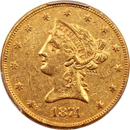 Image of 1874 $10 PCGS AU58