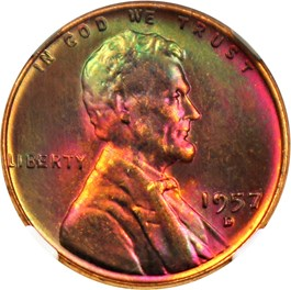Image of 1957-D 1c NGC MS65 RB *Star*