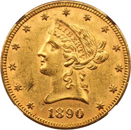 Image of 1890 $10 NGC MS60