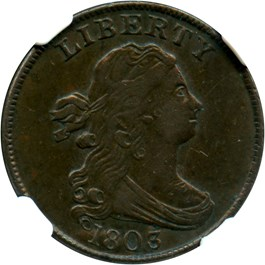 Image of 1803 1/2c NGC/CAC XF45 BN